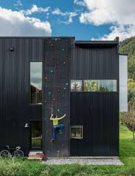 the exterior of the home is clad in black corrugated metal and was chosen for its durability texture and low cost due to the height of the building