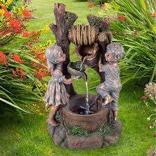 Lighted Water Fountain Outdoor Decor Amazon Com Amerizon Children At The Well Water Fountain
