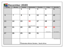 December 2020 Calendar South Africa Michel Zbinden En