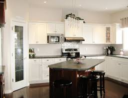 White Kitchen With Granite Small Black White Kitchen With Granite Countertop And Wooden Floor