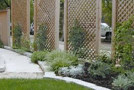 This picture shows freestanding lattice screens with newly planted vines.  The combination takes up minimal space, while providing screening and  visual ...