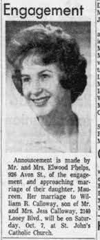 Maureen Phelps and William R Calloway engagement - Newspapers.com