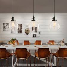 industrial style pendant light with globe round glass shade for kitchen island
