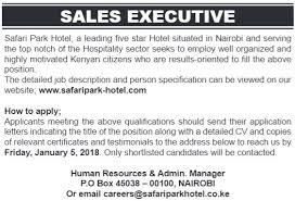 Sales Executive Job Description Safari Park Hotel Nairobi Sales Executive Job Jobspot Kenya