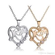 whole fashion mother and child love mom crystal pendant necklace mother s day gifts sweater chain necklaces for mother 5 letter pendant necklaces
