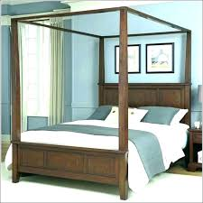 Dark Wood King Canopy Bed Platform Contemporary Upholstered Cherry ...