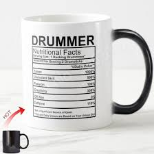 cool funny drummer gifts novelty drummer nutrition facts label percussion drum coffee mug tea cup color