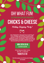 Chicks Cheese Holiday Shopping Party Destination Osoyoos