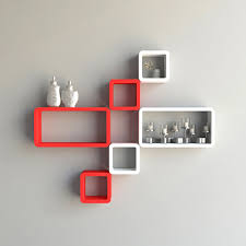 red white cube rectangle wall shelves for