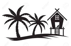 Tropical Summer Illustration Palm Tree And Beach House