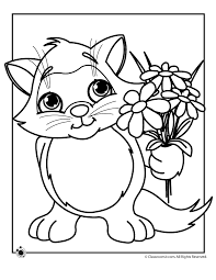 Small Picture Spring Coloring Pages Spring Kitten Coloring Page Classroom Jr