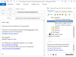 outlook mail templates insert template phrases into outlook emails with a click