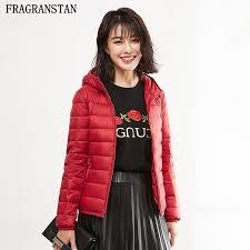 women winter hooded coat 90 white duck down jacket waterproof ultra light solid color coats feamle plus size