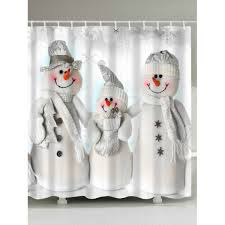 waterproof polyester snowman shower curtain grey white w71 inch l79 inch