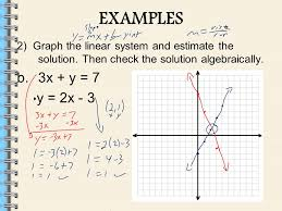 examples 2 graph the linear system and estimate the solution then check the solution