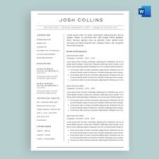 The Collins Resume Cv Template Package For Microsoft Word