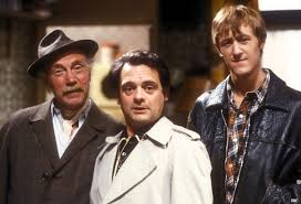 lennard pearce as grandad david jason as del boy trotter and nicholas lyndhurst as his brother rodney