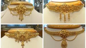 Gold Cheek Necklace Design Light Weight Gold Choker Necklace Designs
