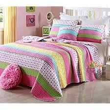 pink quilt bedding. Modren Pink HNNSI Cotton Kids Girls Summer Quilt Comforter Sets Queen Size 3 Piece Pink  Dot Striped In Bedding