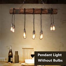 Edison Bulb Pendant Light Antique Farmhouse Wood Beam Island Hanging Pendant Lights With 10 Edison Bulb Home Kitchen Restaurant Decorations