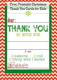 Free Printable Christmas Thank You Cards For Kids Christmas