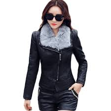 fur collar detachable women s leather motorcycle outwear faux leather coat women biker jacket perfecto femme e0460