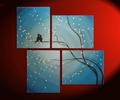 bird painting very large painting love birds wall art sky blue cherry tree branch custom huge