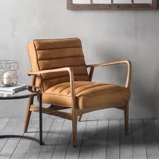 Armchair Upholstery Berkeley Tan Leather Upholstered Armchair Modern Home Furniture