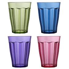 rainbow 8pk clear unbreakable drinking cups glasses 12 oz plastic tumblers