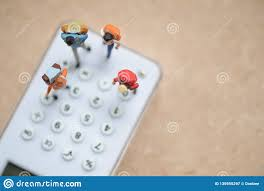 Travel Cost Calculator Miniature People Backpacker Standing On White Calculator For
