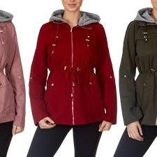 yoki contrast hood water resistant lightweight rain jacket anorak