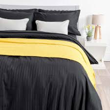 homescapes super king size black egyptian cotton duvet cover set satin stripe 330 thread count with