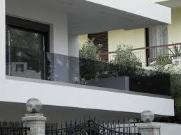 glass railing with bars outdoor for balconies