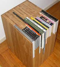 a custom side table with a custom bookshelf