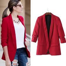 CRAZY DEAL Queechalle <b>2019</b> Spring Autumn Red Jacket Blazer ...