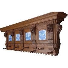 Antique Oak Coat Rack Large Antique Carved Wood Coat Rack Lion Head Tiles Biblical Scene 43