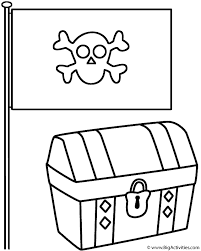 Pirate Flag With Treasure Chest Coloring Page Pirates