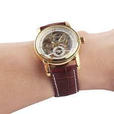 aliexpress com buy luxury gold watches men fashion new leather aliexpress com buy luxury gold watches men fashion new leather strap automatic self wind watches for men gold brown brand watch from reliable watch strap