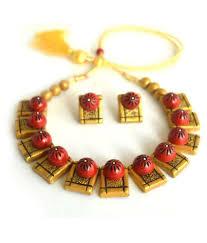 darklady s terracotta jewellery set with matching stud earring red golden combination metallicglossy finish necklace set for women darklady s