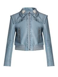 miu miu crystal and stud embellished leather er jacket slate blue womens miu miu sunglasses miu miu perfume usa professional