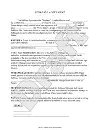 Sample Sublease Agreement Sublease Agreement Form Sublet Contract Template With