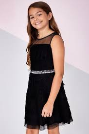 Buy Lipsy Girl Tiered <b>Mesh Pleated Dress</b> from the Next UK online ...