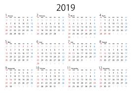 シンプルなデザインの2019年年カレンダーの無料イラスト素材イラスト