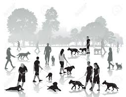 People Walking In The Park With Dogs Vector Illustration