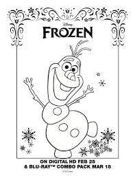 Olaf Coloring Page Frozen Movie Night