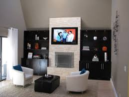 stacked stone fireplace modern family room