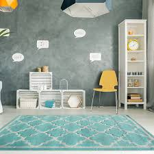 modern soft duck egg blue moroccan trellis rug non shed warm living room rugs uk