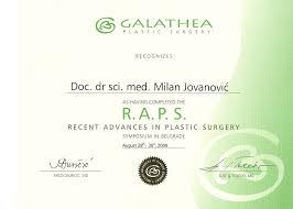 doc dr milan jovanovic s diplomas plastic cosmetic surgery   surgeon s diploma raps viii