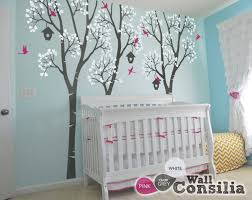 birch trees with birds and birdcages custom wall decals