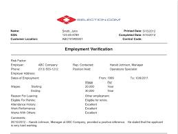 Employment Verification Templates Employment Verification Sample Background Check Selection Com